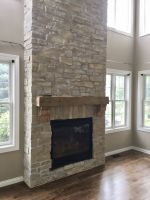 "And now, the unveiled ""after"" photo to our Pleasant Prairie, Wisconsin fireplace makeover!!!"